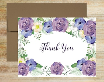 Purple and Navy Floral Stationery | Set of 10 | Bridal Shower Thank You Notes | Wedding Thank You Cards | PRINTED
