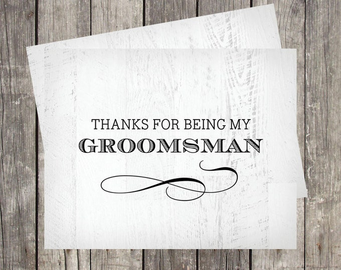 Groomsman Thank You Card | Rustic Wood Background | Wedding Party Thank You Card | PRINTED