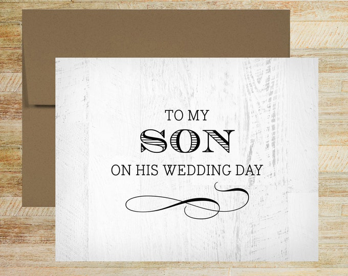To My Son on His Wedding Day | Wedding Day Card for Groom | Rustic Wood Background | PRINTED