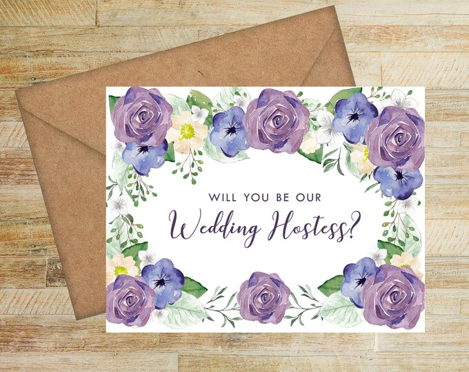 Will You Be Our Wedding Hostess Card   Wedding Hostess Proposal Card   Purple and Navy Floral   PRINTED