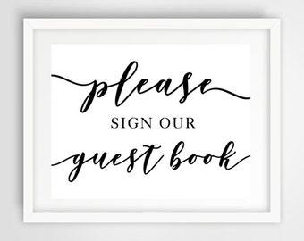 Please Sign Our Wedding Guest Book Sign | 8 x 10 | Wedding Reception Sign | INSTANT DOWNLOAD