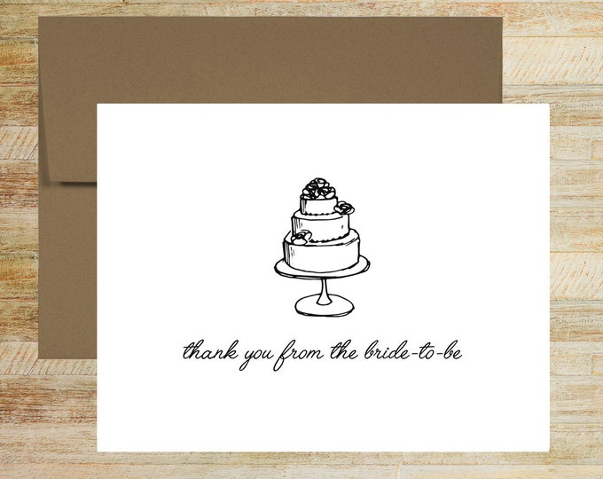 Wedding Cake Bridal Shower Thank You Notes | Set of 10 | Thank You From the Bride to Be | PRINTED