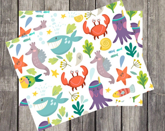 Note Card Set for Kids   Set of 5   Fun Children's Stationery   Cartoon Sea Creatures   Gift for Children   Boats and Cars Design   PRINTED