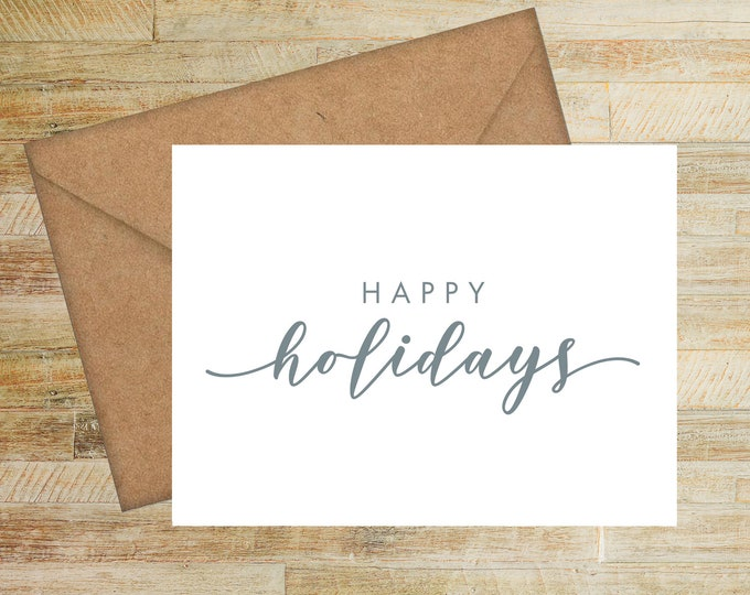 Happy Holidays Personalized Greeting Cards | Set of 10 | Custom Copy Christmas Cards | PRINTED
