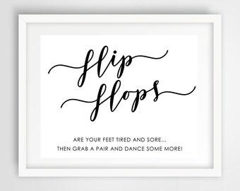 Flip Flops Dance Floor Sign | 8 x 10 | Wedding Reception Sign | INSTANT DOWNLOAD