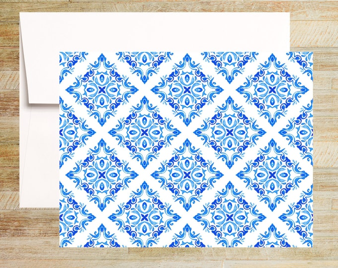Venetian Blue Tile Note Cards   Set of 4   Unique Stationery Gifts   Watercolor Tile Pattern 004   PRINTED