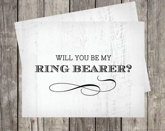 Will You Be My Ring Bearer Card | Ring Bearer Proposal Card | Rustic Wood Background | PRINTED