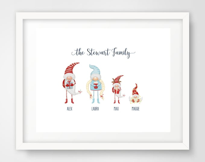 Gnome Family Wall Print | 8 x 10 Personalized Family Art | Holiday Home Decor | Christmas Housewarming Gift | Cute Gnomes Art | PRINTED