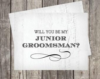 Will You Be My Junior Groomsman Card | Groomsman Proposal Card | Wedding Card for Jr. Groomsman | Rustic Wood Background | PRINTED