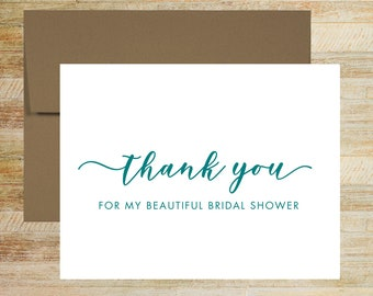Bridal Shower Thank You Card | Shower Card for Vendor | Card for Family | Card from Bride to Be | PRINTED