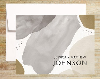 Modern Watercolor Personalized Stationery  | Set of 10 | Gray and Gold | PRINTED
