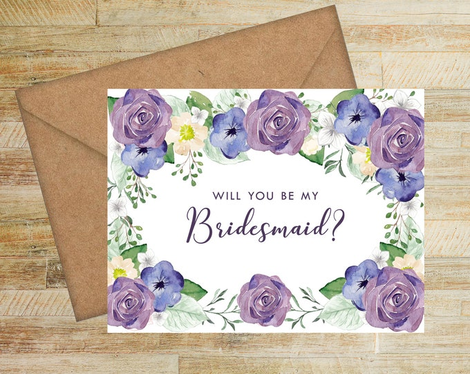 Will You Be My Bridesmaid Card   Bridesmaid Proposal Card   Purple and Navy Floral   PRINTED