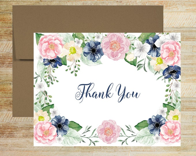 Pink and Navy Floral Stationery | Set of 10 | Bridal Shower Thank You Notes | Wedding Thank You Cards | PRINTED