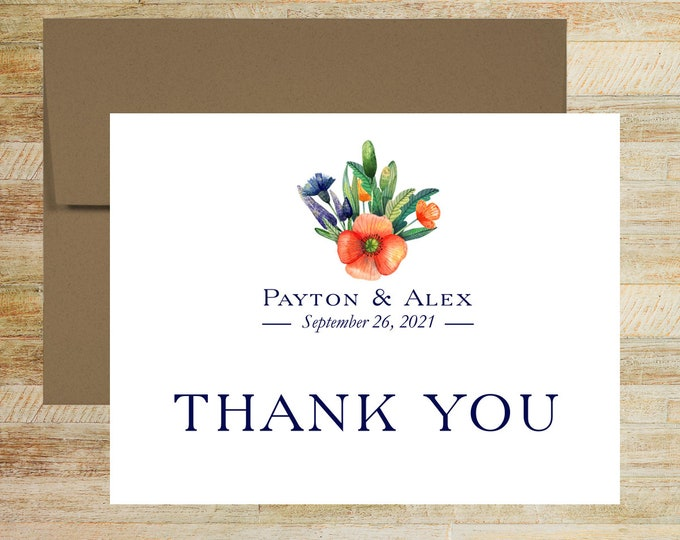 Wedding Thank You Cards | Set of 10 | Floral Poppy | Custom Note Cards | Set of 10 | Personalized Stationery | PRINTED