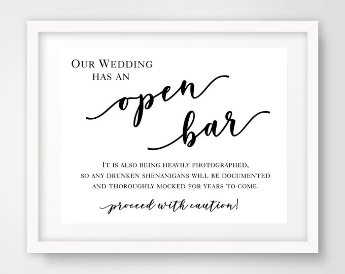 Open Bar Wedding Reception Sign | 8 x 10 | Party Printables | INSTANT DOWNLOAD