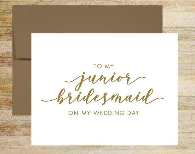 Junior Bridesmaid Wedding Card | On My Wedding Day Card For Junior Bridesmaid | PRINTED