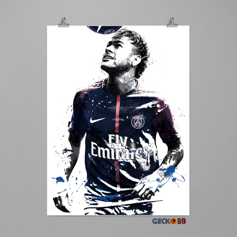 4a4d7dbfc3f Neymar Jr. Paris Saint-Germain football art print Soccer | Etsy