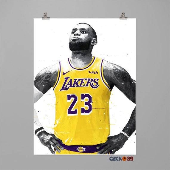 1a307cd1b13 LeBron James LA Lakers Art print Basketball poster Sport wall