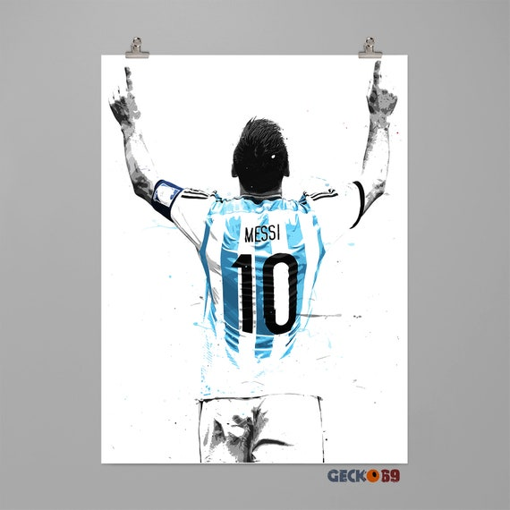 lionel messi argentina art print football poster sports wall etsy