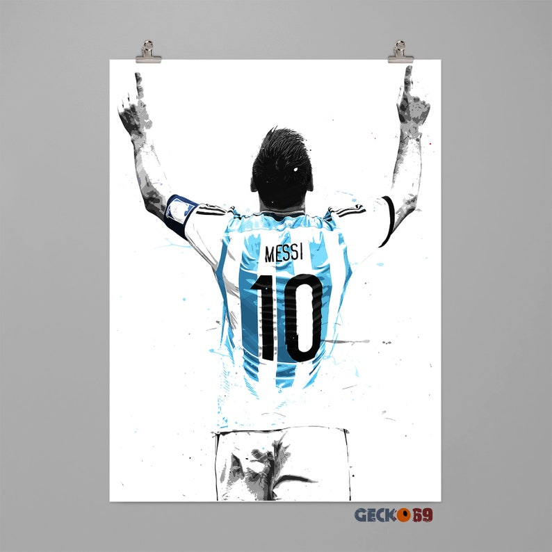 f318e6245 Lionel Messi Argentina art print Football poster Sports wall