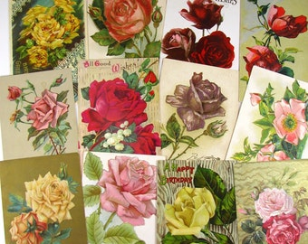 Victorian Rose Postcards, 12, Antique, Rosebuds, Old Greetings, Floral, Era, Paper Ephemera, Antique Paper, Victorian, Red, Pink, Yellow