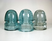 Set of 3 old CANADIAN cd 143 glass insulators, Canadian PacificRAILWAY insulator, STANDARD, Canadian National Railway, cd 143, Telegraph