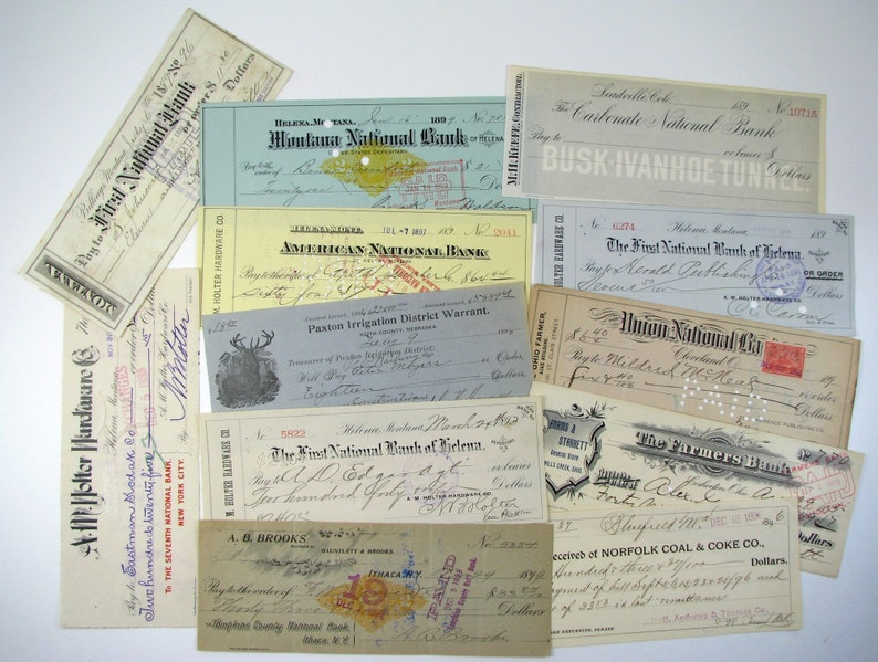 12 Antique 1890s Checks, Revenue Stamps, First National Bank, Montana IA,  Cooperstown NY, PA, Banking, Paper Ephemera