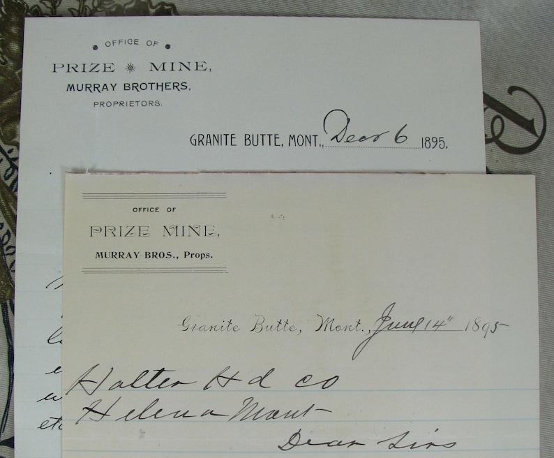 2 1895 Ghost Town GRANITE BUTTE Mining Paper Ephemera Murray Brothers Proprietors MONTANA letterheads Prize Mine Mining letters