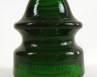 McLAUGHLIN insulator, Green Insulator, 1920's, Vernon CA, CALIFORNIA, CD 164, Electrical, Antique Insulator, colorful insulator, #20 style