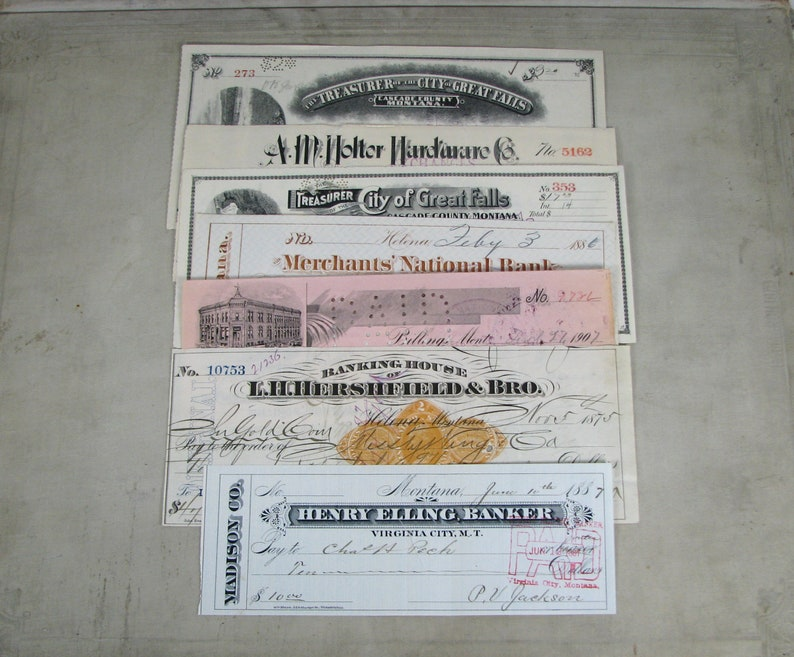 12 fancy old MONTANA & TERRITORY bank business checks, Helena Montana  checks, Billings Montana checks, REVENUE imprinted checks, Territorial
