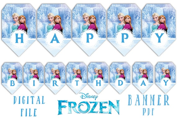 image relating to Frozen Banner Printable called FROZEN banner, banner Frozen, Printable Frozen Banner, Instantaneous Down load, Total Alphabet Banner