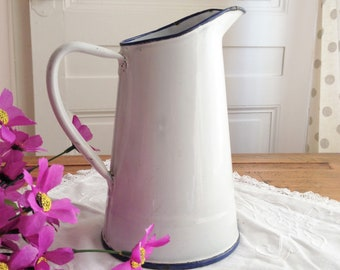 French vintage enamel pitcher. Enameled milk pot. Vintage jug. French country home decor. Shabby style. Blue and white enamelware.