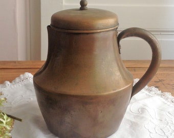 Vintage french copper plated teapot. Vintage coffee pot.Vintage kitchenware.French country home. French cottage style.