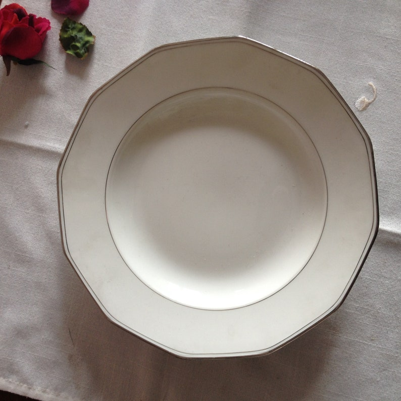 Deep plates with silver rim 8 french vintage sivler and white soup plates Legrand Limoges 1930/'s.