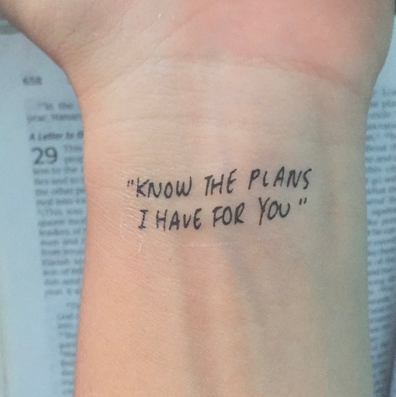 Know The Plans I Have For You Tattoo Etsy