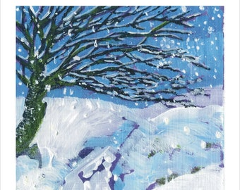 Cornish Christmas Art Greeting Card From Cornwall UK. Snow. Trees. River. Frost.  Winter.