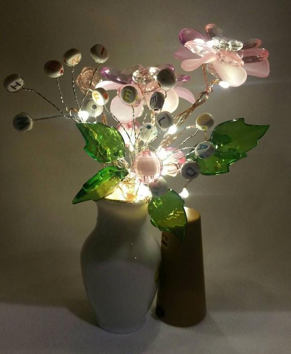 Led Battery Flower Vase Beaded Flower Vase Cleoandcalleigh Etsy
