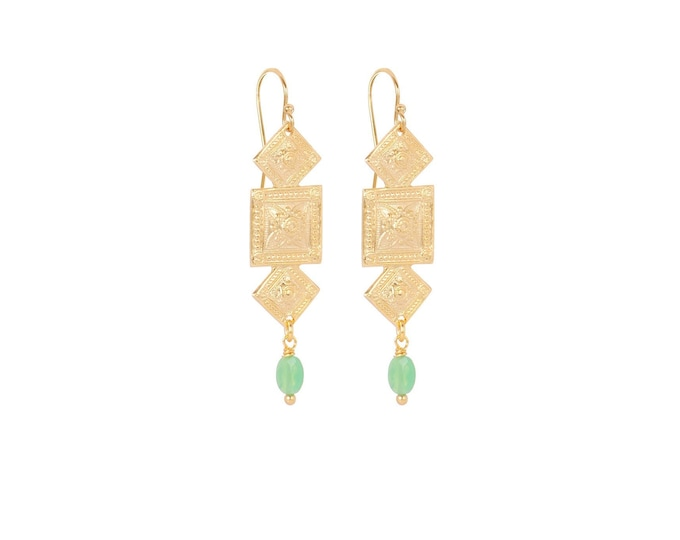 Antique geometric gold earrings with a green chalcedony drop