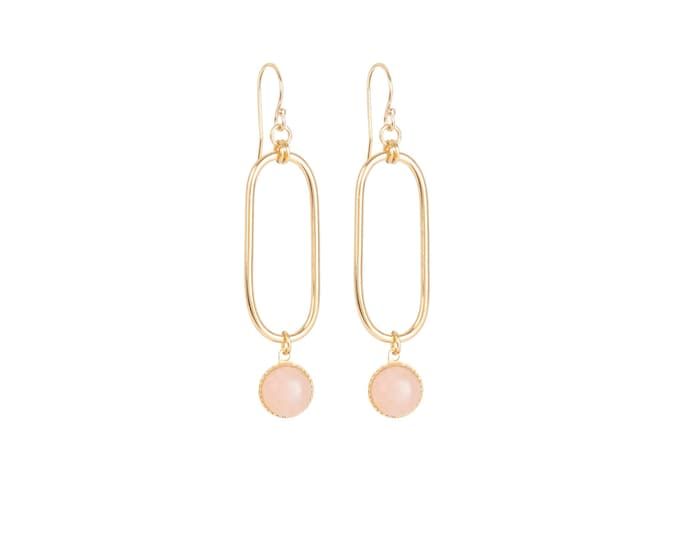 EMMA small golden earrings : rectangles and cabochons in pink quartz
