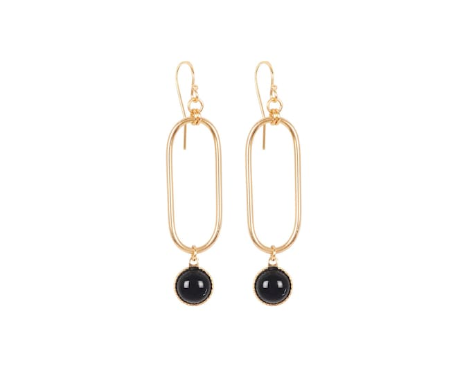 EMMA small golden earrings : rectangles and cabochons in black agate - by Intuitu Paris