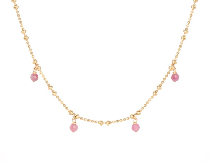 Necklace gilded with fine gold in ball chain with 4 pink tourmaline pearls