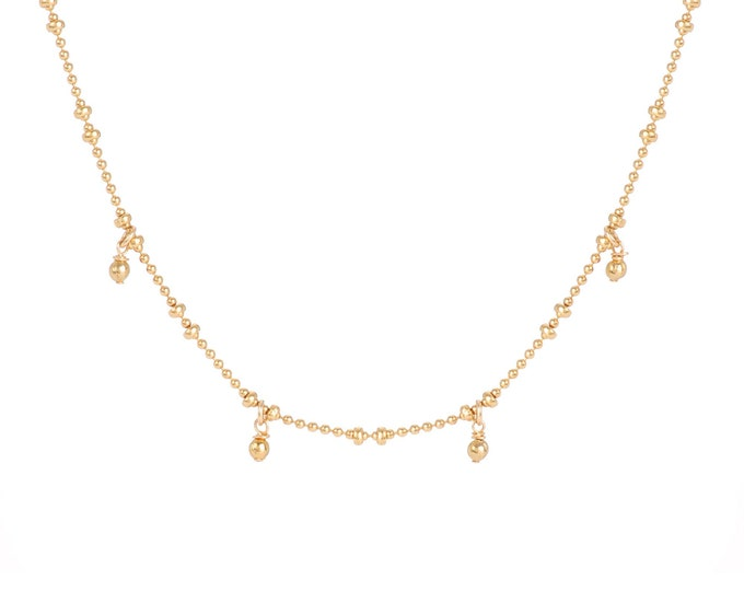 Necklace gilded with fine gold in ball chain with 4 golden pearls