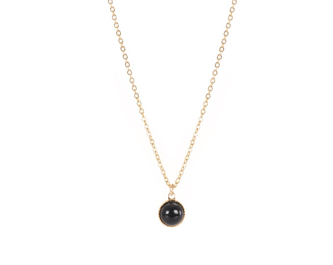 EMMA gold necklace with round cabochon pendant in black agate - by Intuitu Paris