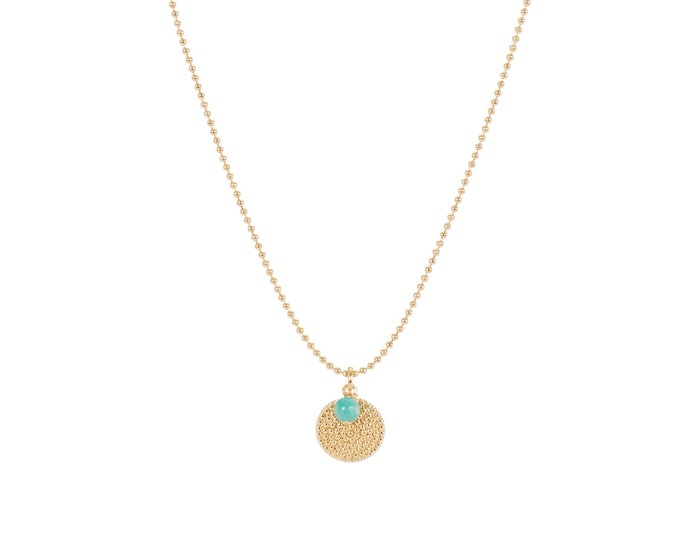 Necklace with chain Sun beads and medal pendants beads and Green Pearl blue (amazonite) - a Paris jewelry