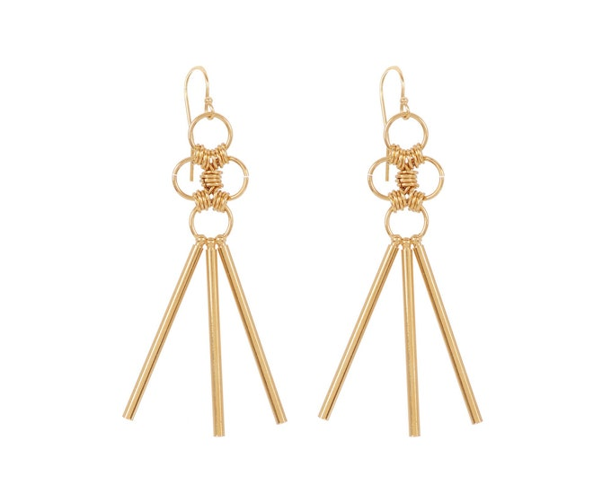 Maxi Gold or Silver Earrings with rings and long stems