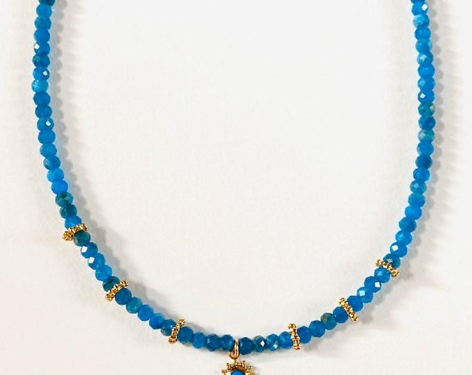 INDIA necklace in azurite and golden rings - Intuitu Paris