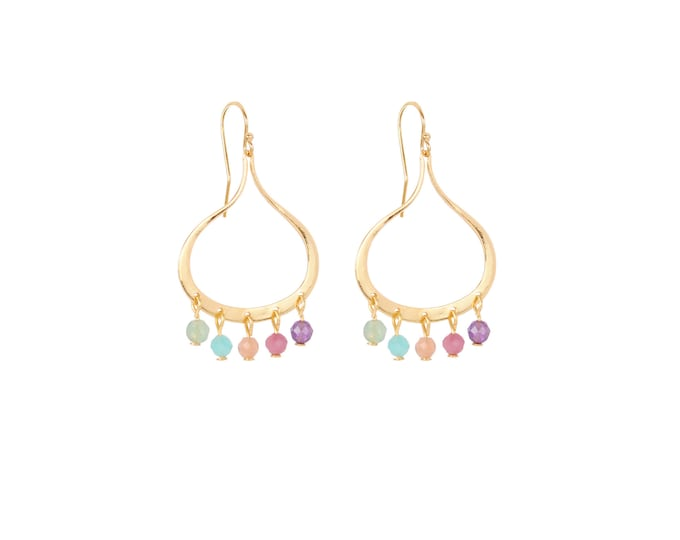 Dangling earrings with multi stones tassels gilded with fine gold