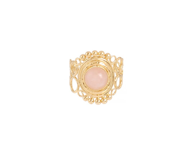 INDIA ring with openwork scrolls, rose quartz