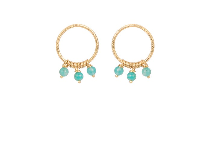 Hoop earrings engraved with 3 amazonite pearls