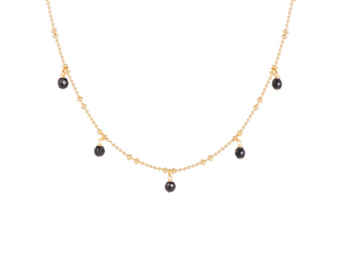 Necklace gilded with fine gold in ball chain with 5 black agate pearls